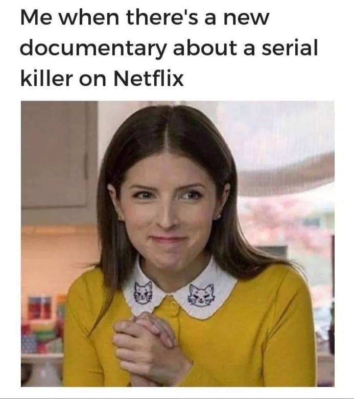 """Anna Kendrick meme that reads, """"Me when there's a new documentary about a serial killer on Netflix"""""""