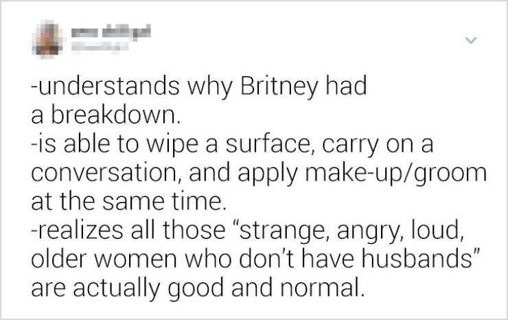 """funny women - Text - -understands why Britney had a breakdown. -is able to wipe a surface, carry on conversation, and apply make-up/groom at the same time. -realizes all those """"strange, angry, loud, older women who don't have husbands"""" are actually good and normal."""