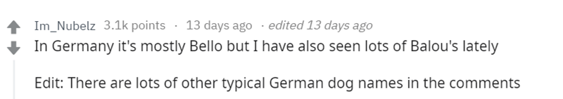 Text - 13 days ago .edited 13 days ago Im_Nubelz 3.1k points In Germany it's mostly Bello but I have also seen lots of Balou's lately Edit: There are lots of other typical German dog names in the comments