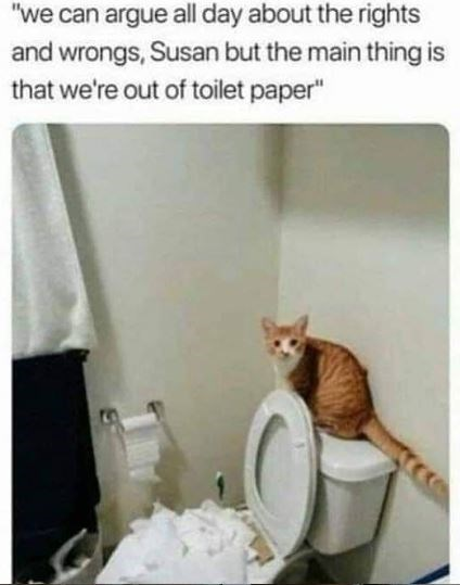 """Cat - """"we can argue all day about the rights and wrongs, Susan but the main thing is that we're out of toilet paper"""""""