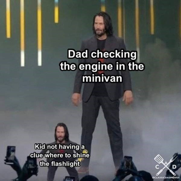 Album cover - Dad checking the engine in the minivan Kid not having a clue where to shine the flashlight eCLASSICDADMOVES