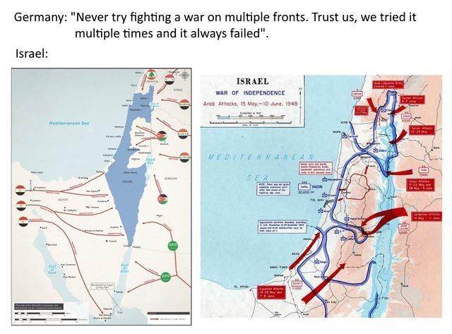 "Text - Germany: ""Never try fighting a war on multiple fronts. Trust us, we tried it multiple times and it always failed"". Israel: ISRAEL y WAR OF INDEPENDENCE Teen A Arob Attocks, 15 May-10 June, 1948 Mediteranean Ses nEN M MEDITERRANEAN Dend SEA aDN ov w JL e fargtan an"