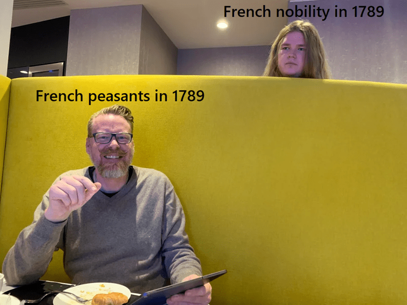 Yellow - French nobility in 1789 French peasants in 1789