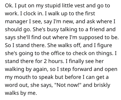 """Text - Ok. I put on my stupid little vest and go to work. I clock in. I walk up to the first manager I see, say I'm new, and ask where I should go. She's busy talking to a friend and says she'll find out where I'm supposed to be So I stand there. She walks off, and I figure she's going to the office to check on things. I stand there for 2 hours. I finally see her walking by again, so I step forward and open my mouth to speak but before I can get a word out, she says, """"Not now!"""" and briskly walks"""