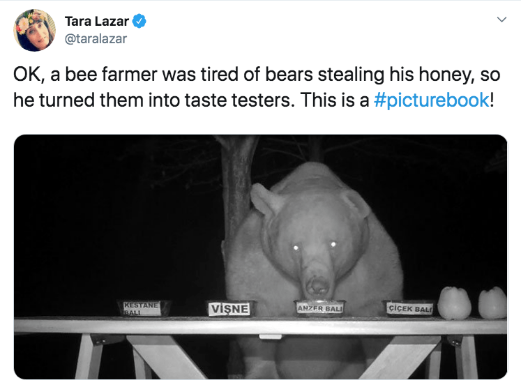 Beekeeper - Adaptation - Tara Lazar @taralazar OK, a bee farmer was tired of bears stealing his honey, so he turned them into taste testers. This is a #picturebook! KESTANE BALL VISNE ciCEK BAL ANZER BALI
