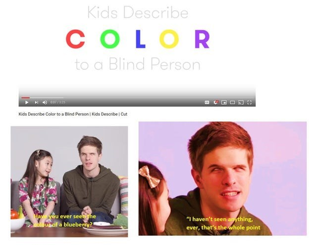"""Face - Kids Describe COLOR to a Blind Person 0077555 Kids Describe Color to a Blind Person Kids Describe   Cut Have you ever seen the """"I haven't seen anything, ever, that's the whole point oloupof a blueberry?"""