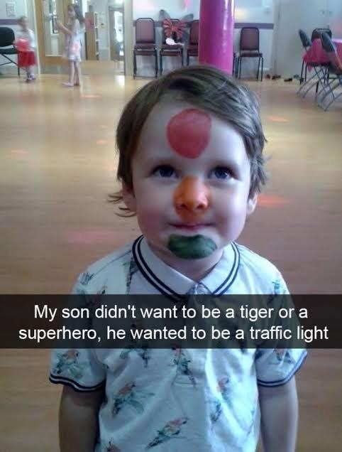 Child - My son didn't want to be a tiger or a superhero, he wanted to be a traffic light