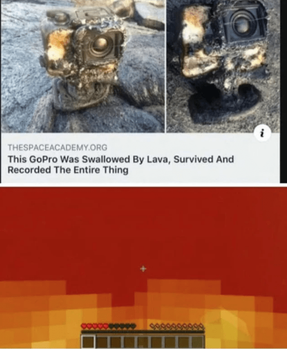 reddit - Text - THESPACEACADEMY.ORG This GoPro Was Swallowed By Lava, Survived And Recorded The Entire Thing