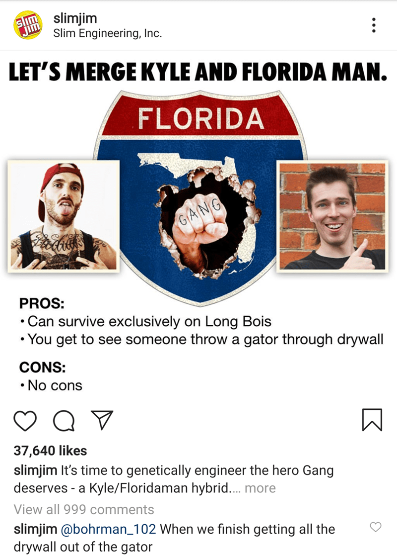 Advertising - S slimjim Slim Engineering, Inc. Jim LET'S MERGE KYLE AND FLORIDA MAN. FLORIDA GANG PROS: Can survive exclusively on Long Bois You get to see someone throw a gator through drywall CONS: No cons 37,640 likes slimjim It's time to genetically engineer the hero Gang deserves a Kyle/Floridaman hybrid.... more View all 999 comments slimjim @bohrman_102 When we finish getting all the drywall out of the gator