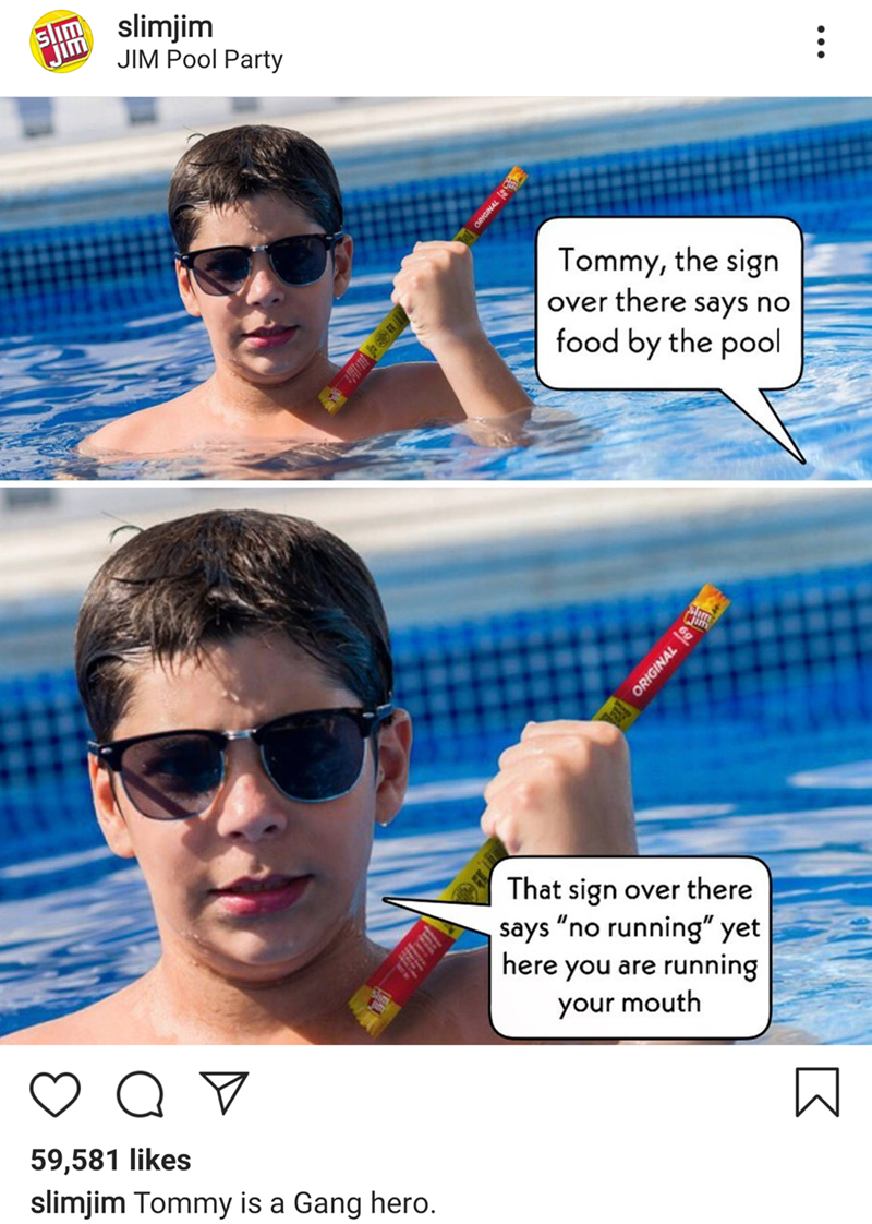 """Meme - """"Tommy, the sign over there says no food by the pool; That sign over there says """"no running"""" yet here you are running your mouth"""""""