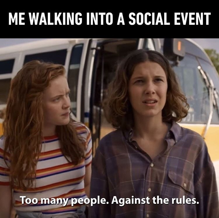 """Stranger Things meme - """"ME WALKING INTO A SOCIAL EVENT; Too many people. Against the rules."""""""