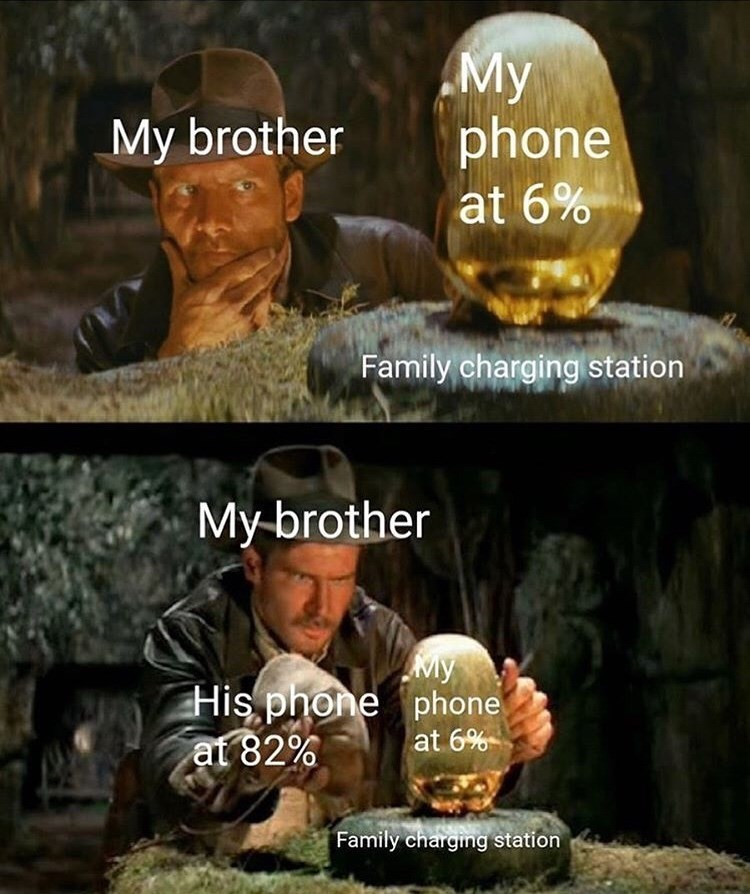 Photo caption - My phone at 6% My brother Family charging station My-brother My His phone phone at 82% at 6% Family charging station