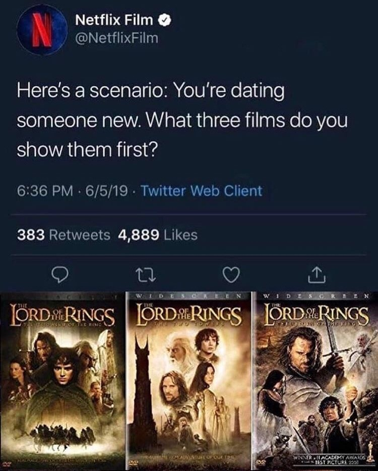 Movie - Netflix Film @NetflixFilm Here's a scenario: You're dating someone new. What three films do you show them first? 6:36 PM 6/5/19 Twitter Web Client 383 Retweets 4,889 Likes w DES WIDES ORDRINGSORDRINGSORDRINGS MAUVLNTUOOU TS WINNER ACADEMY AWAD BEST PCTURE 350