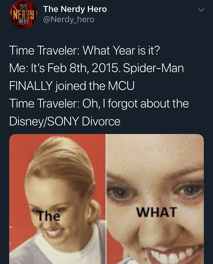 Face - THE The Nerdy Hero NERI@Nerdy_hero HERD Time Traveler: What Year is it? Me: It's Feb 8th, 2015. Spider-Man FINALLY joined the MCU Time Traveler: Oh, I forgot about the Disney/SONY Divorce WHAT The