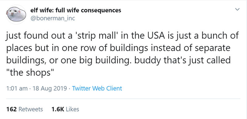 "australian tweet - Text - elf wife: full wife consequences @bonerman_inc just found out a 'strip mall' in the USA is just a bunch of places but in one row of buildings instead of separate buildings, ""the shops"" or one big building. buddy that's just called 1:01 am 18 Aug 2019 Twitter Web Client 162 Retweets 1.6K Likes"