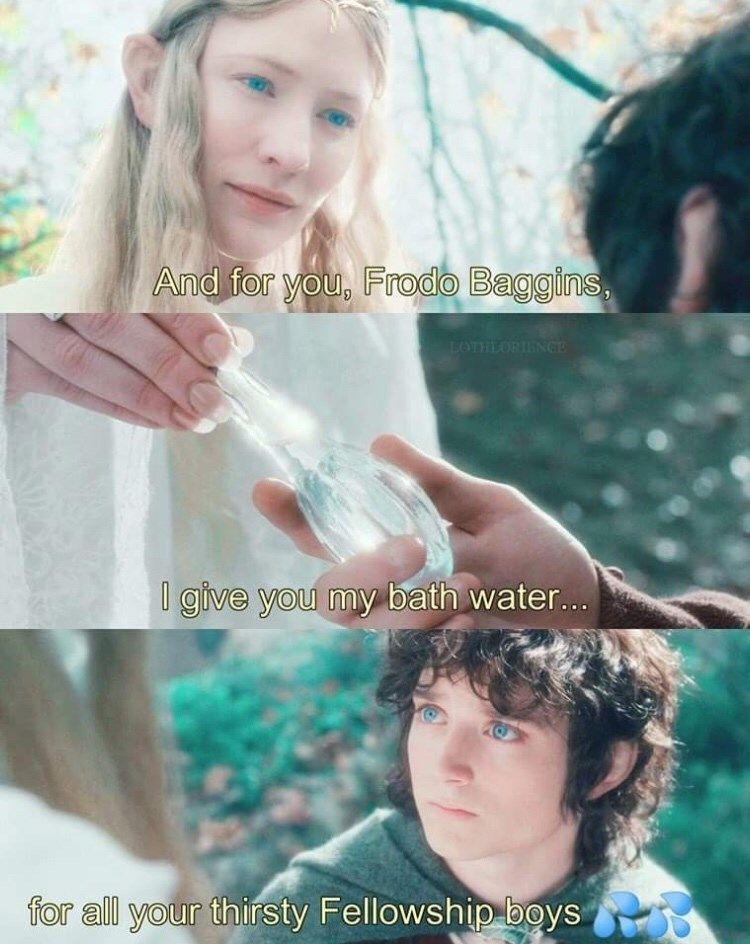 Hair - And for you, Frodo Baggins, LOTHLORIENCE give you my bath water... for all your thirsty Fellowship boys