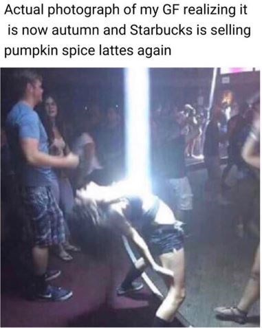 Photo caption - Actual photograph of my GF realizing it is now autumn and Starbucks is selling pumpkin spice lattes again