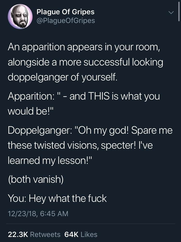 "meme - Text - Plague Of Gripes @PlagueOfGripes An apparition appears in your room, alongside a more successful looking doppelganger of yourself. Apparition:"" and THIS is what you would be!"" Doppelganger: ""Oh my god! Spare me these twisted visions, specter! I've learned my lesson!"" (both vanish) You: Hey what the fuck 12/23/18, 6:45 AM 22.3K Retweets 64K Likes"