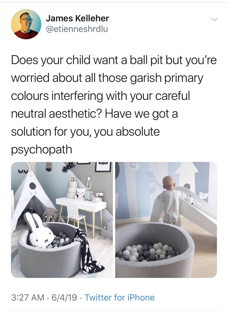 meme - James Kelleher @etienneshrdlu Does your child want a ball pit but you're worried about all those garish primary colours interfering with your careful neutral aesthetic? Have we got a solution for you, you absolute psychopath 3:27 AM 6/4/19 Twitter for iPhone