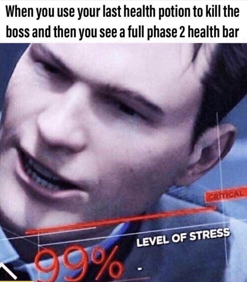 Forehead - When you use your last health potion to kill the boss and then you see a full phase 2 health bar CRITICAL 9% LEVEL OF STRESS