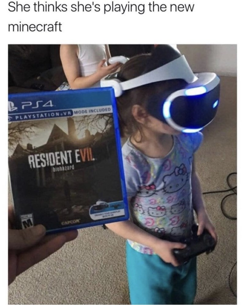 Cool - She thinks she's playing the new minecraft BPS4 PLAYSTATION VR MODE INCLUDED RESIDENT EVIL biohazard CAPCOM