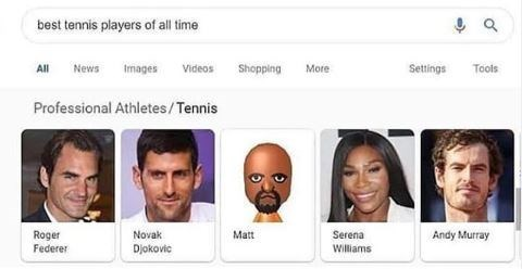 Face - best tennis players of all time Tools All News Images Videos Shopping More Settings Professional Athletes/Tennis Roger Federer Serena Andy Murray Novak Matt Djokovic Williams