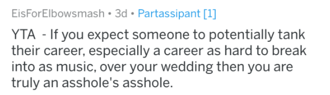 Text - EisForElbowsmash 3d Partassipant [1] YTA If you expect someone to potentially tank their career, especially a career as hard to break into as music, over your wedding then you are truly an asshole's asshole.