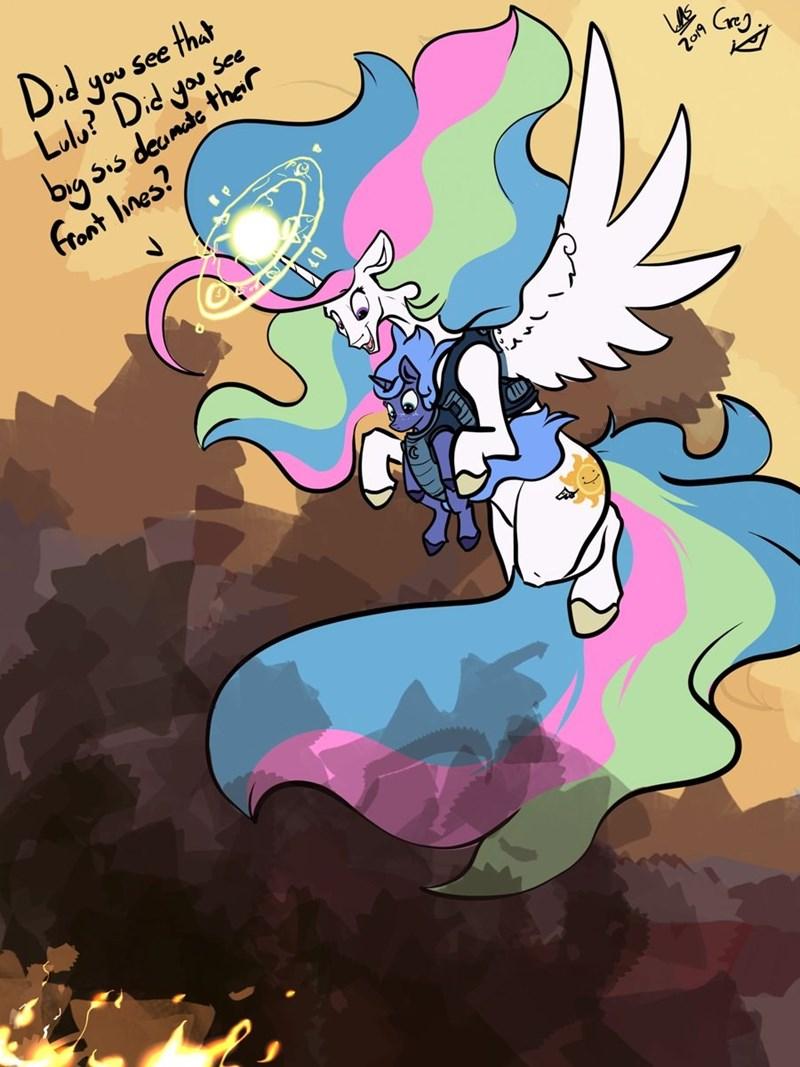 princess luna princess celestia greyscale - 9352499456
