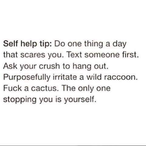 inspirational - Text - Self help tip: Do one thing a day that scares you. Text someone first. Ask your crush to hang out. Purposefully irritate a wild raccoon. Fuck a cactus. The only one stopping you is yourself.