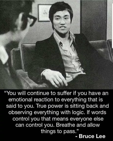 "inspirational - Gentleman - ""You will continue to suffer if you have an emotional reaction to everything that is said to you. True power is sitting back and observing everything with logic. If words control you that means everyone else can control you. Breathe and allow things to pass."". - Bruce Lee"