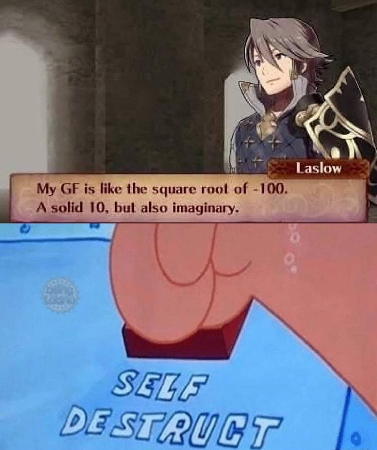 Cartoon - Laslow My GF is like the square root of -100. A solid 10, but also imaginary. SELF DE STRUCT