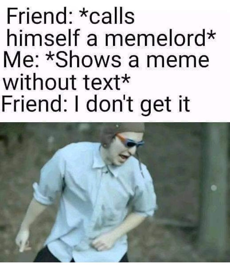 Text - Friend: *calls himself a memelord* Me: *Shows a meme without text* Friend: I don't get it