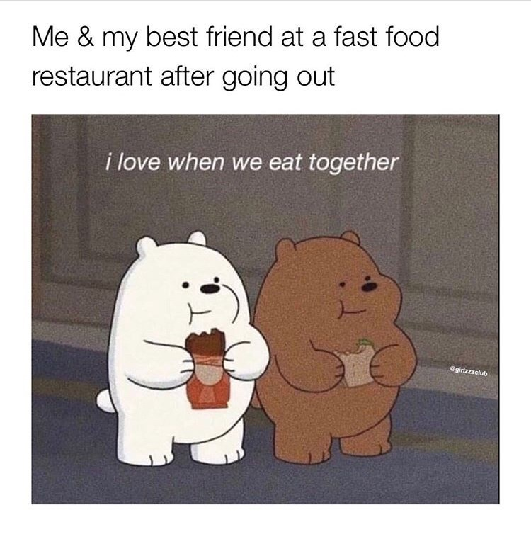 Cartoon - Me & my best friend at a fast food restaurant after going out i love when we eat together @girlzzzclub