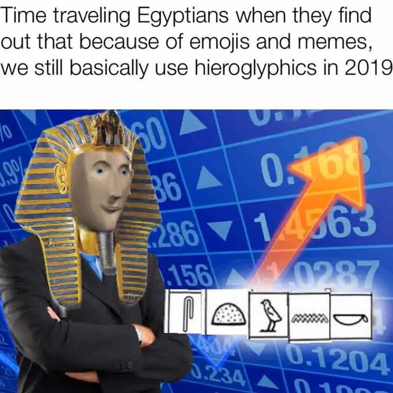 Line - Time traveling Egyptians when they find out that because of emojis and memes, we still basically use hieroglyphics in 2019 36 0168 28614563 156 0287 99 0.1204 0.234 10