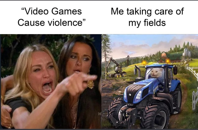 """Mode of transport - Me taking care of my fields """"Video Games Cause violence"""""""