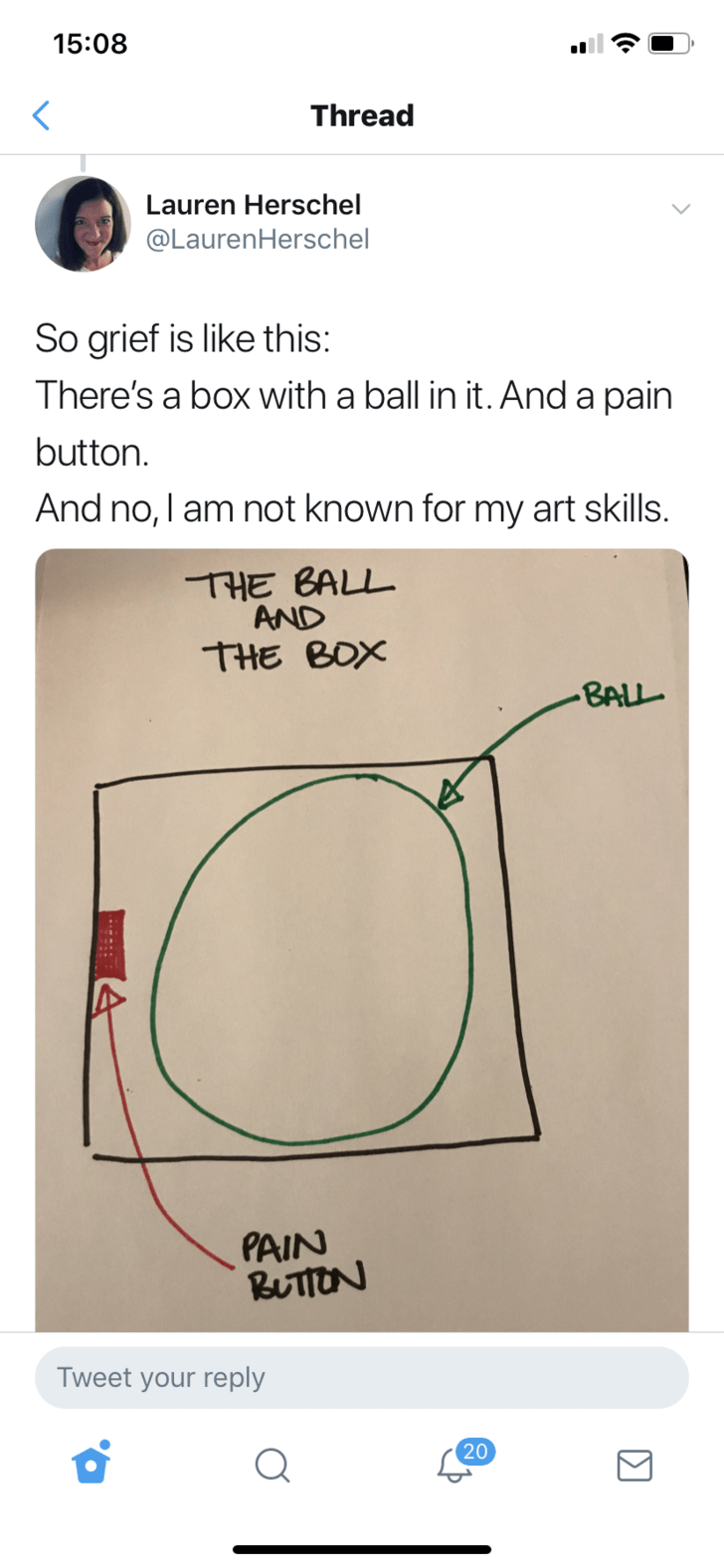 the ball and the box - Text - 15:08 Thread Lauren Herschel @LaurenHerschel So grief is like this: There's a box with a ball in it. And a pain button. And no, I am not known for my art skills. THE BALL AND THE BOX -BALL PAIN RUTTON Tweet your reply 20 Σ