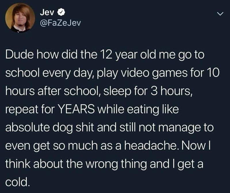 meme - Text - Jev @FaZeJev Dude how did the 12 year old me go to school every day, play video games for 10 hours after school, sleep for 3 hours, repeat for YEARS while eating like absolute dog shit and still not manage to even get so much as a headache. Now I think about the wrong thing and I get a cold.