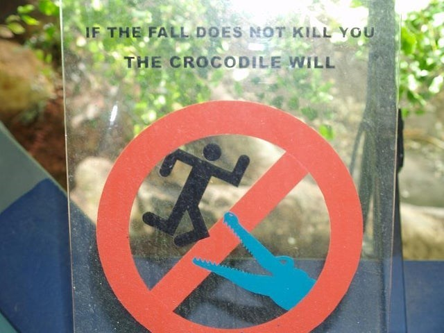 Sign - IF THE FALL DOES NOT KILL YOU THE CROCODILE WILL