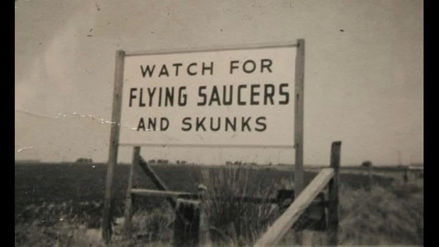 Text - WATCH FOR FLYING SAUCER5 AND SKUNKS