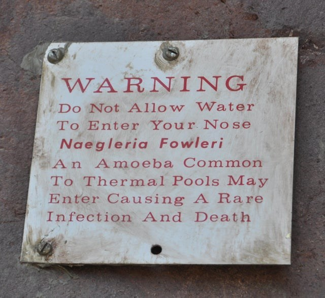 Text - WARNING Do Not Allow Water To Enter Your No se Naegleria Fowleri An Amoeba Common To Thermal Pools May Enter Causing A Rare Infection And Death