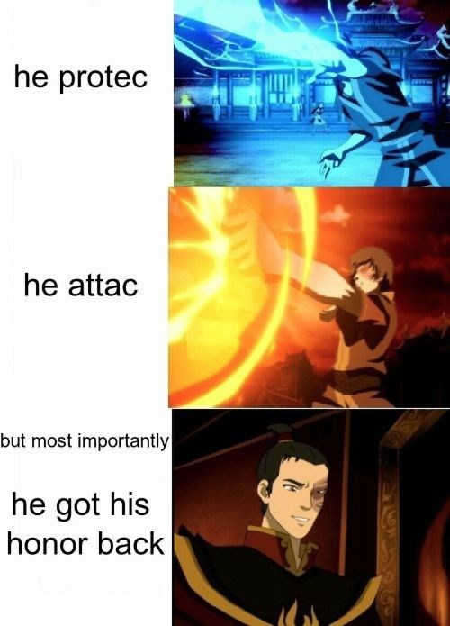 Cartoon - he protec he attac but most importantly he got his honor back
