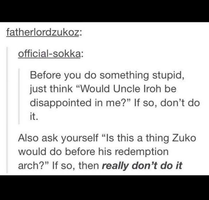 """Text - fatherlordzukoz: official-sokka: Before you do something stupid, just think """"Would Uncle Iroh be disappointed in me?"""" If so, don't do it. Also ask yourself """"Is this a thing Zuko would do before his redemption arch?"""" If so, then really don't do it"""