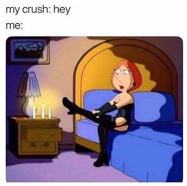 sex meme - Cartoon - my crush: hey me:
