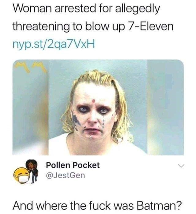 Face - Woman arrested for allegedly threatening to blow up 7-Eleven nyp.st/2qa7VxH Pollen Pocket @JestGen And where the fuck was Batman?