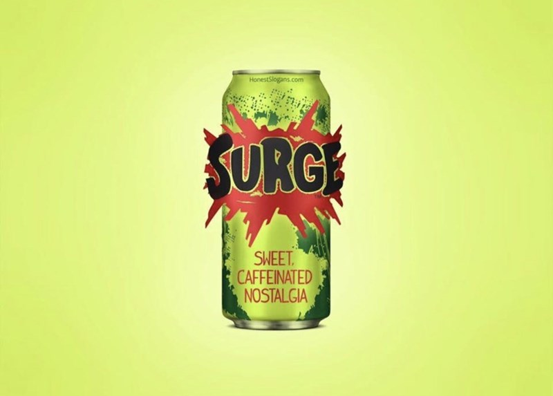 marketing - Beverage can - HonestSlogans.com SURGE SWEET. CAFFEINATED NOSTAL GIA