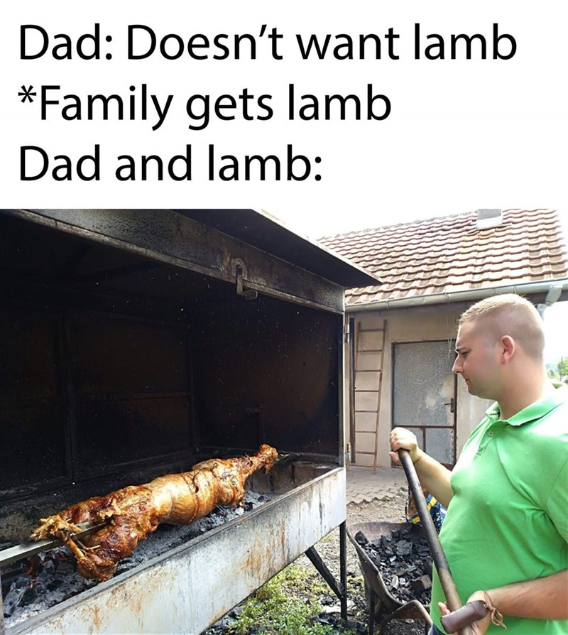 slavic meme - Grilling - Dad: Doesn't want lamb *Family gets lamb Dad and lamb: