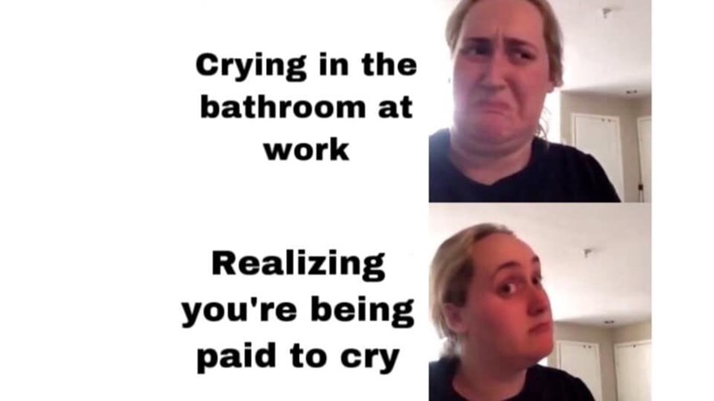 cartoon meme - Face - Crying in the bathroom at work Realizing you're being paid to cry
