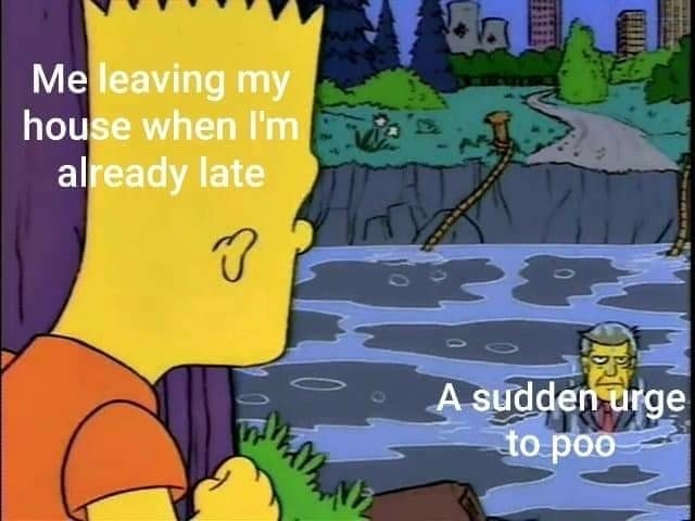 cartoon meme - Cartoon - Meleaving my house when I'm already late A sudden urge to poo mahi