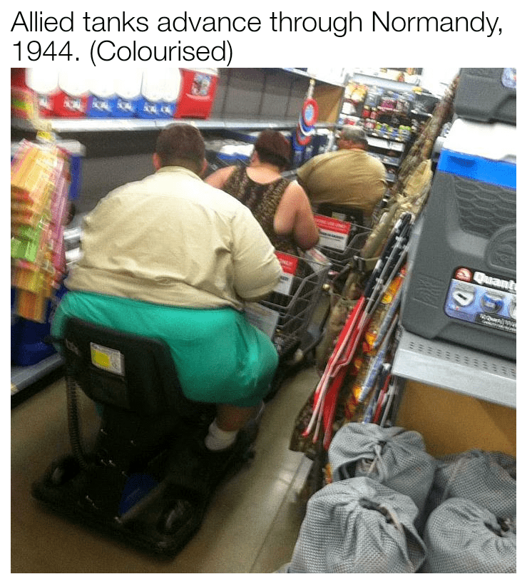 history meme - Transport - Allied tanks advance through Normandy, 1944. (Colourised) Quant
