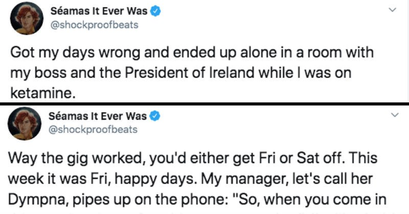 Guy shares Twitter thread about the time he ended up in a room alone with his boss, while he was tripping out.
